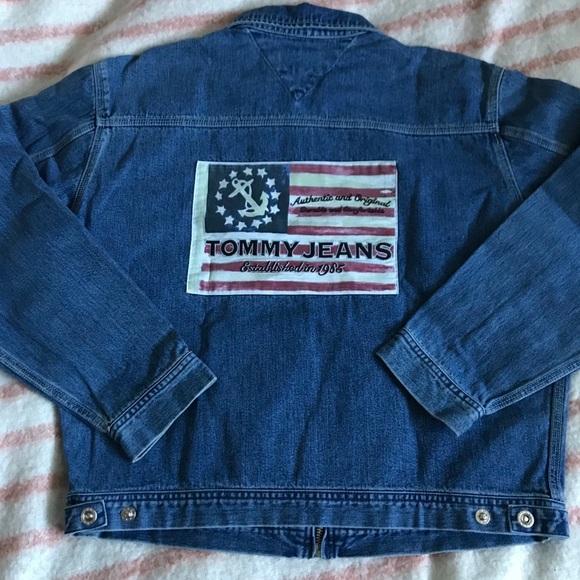 3bd51b80a 90s VTG Tommy Jeans Zip Up Flag Logo Jean Jacket